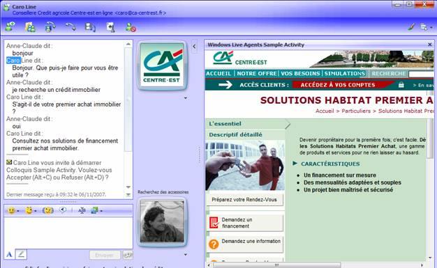 Le Crédit Agricole Centre-Est sur Windows Live Messenger
