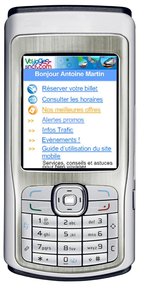 Les services de la SNCF sur Mobile