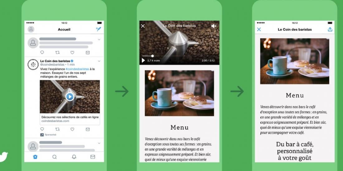 Twitter déploie un format vidéo 'cliquable'