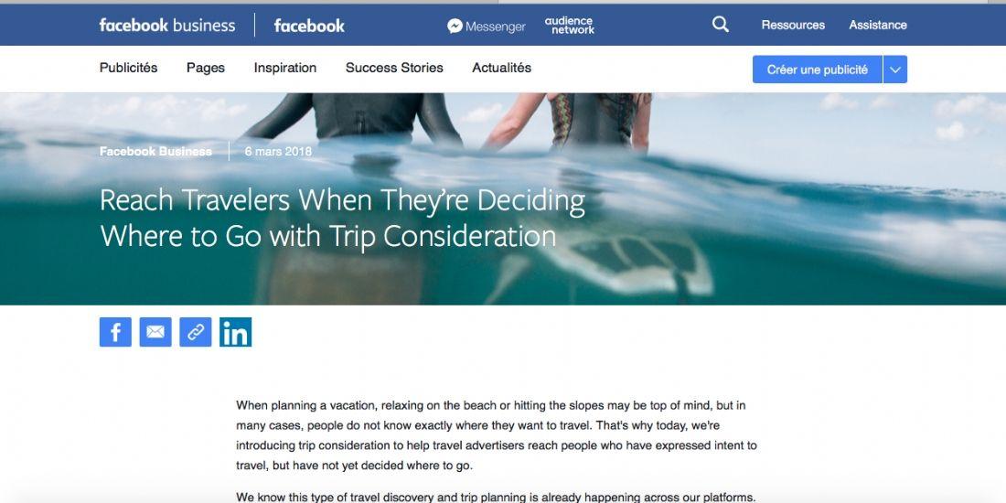 Trip Consideration, le nouvel outil Facebook pour les annonceurs tourisme
