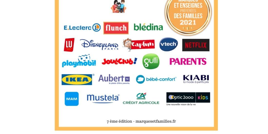 Palmarès 2021 : Les marques, médias et enseignes préférés des familles