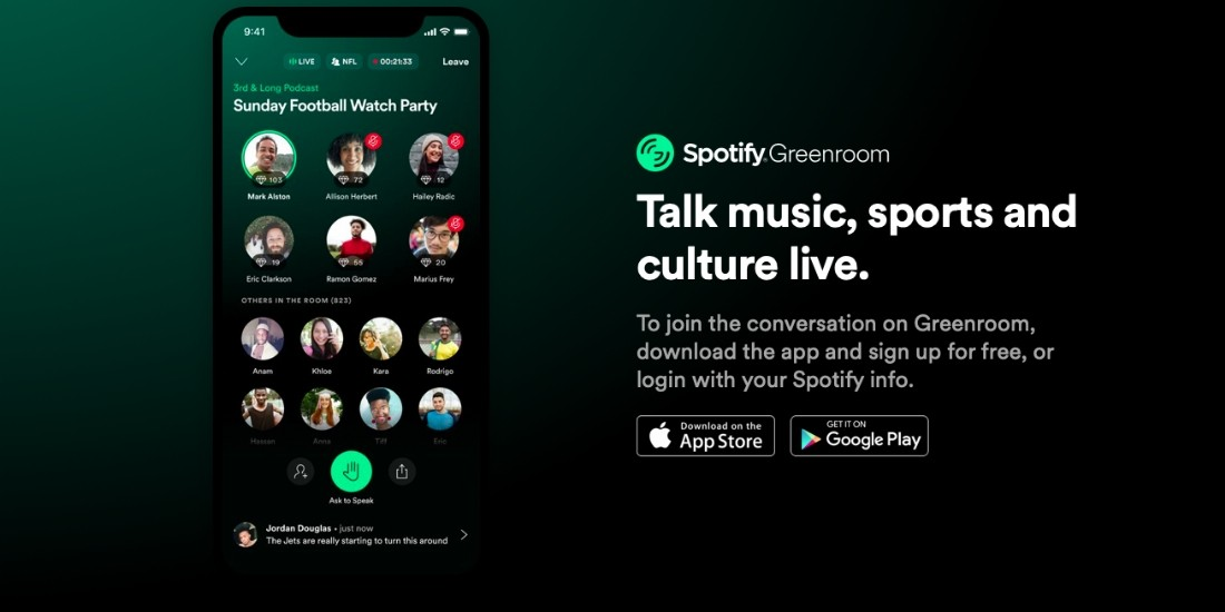 Spotify lance Greenroom pour concurrencer Clubhouse